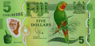 P115 Fiji Islands 5 Dollars (Flora & Fauna) 2012